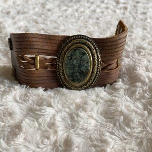 Leather Rock Leather Band Bracelet
